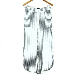 Tahari Striped Button Down Coastal Straight Skirt